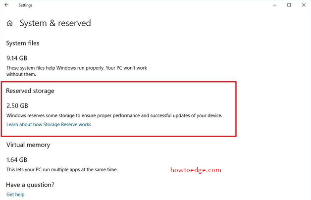 Reserved Storage in Windows 10