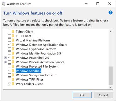 fix Sandbox Issue in Windows 10