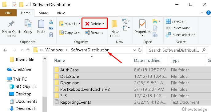 Check for updates, Delete Software distribution