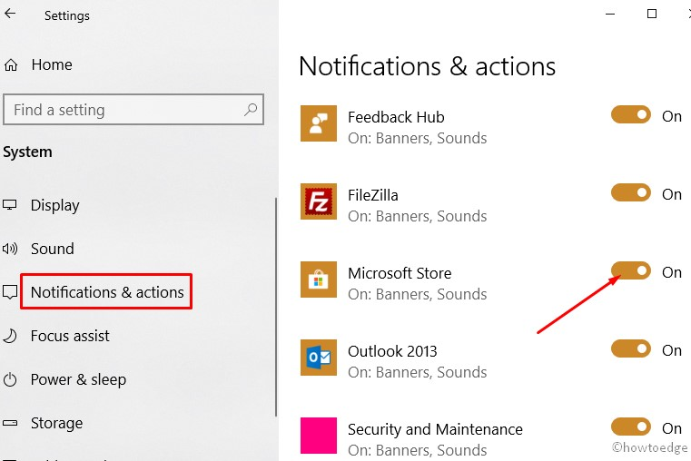 Windows 10 apps notifications