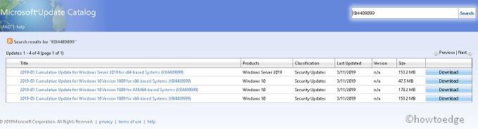 KB4489899: Windows 10 OS Build 17763 379- March 12 2019