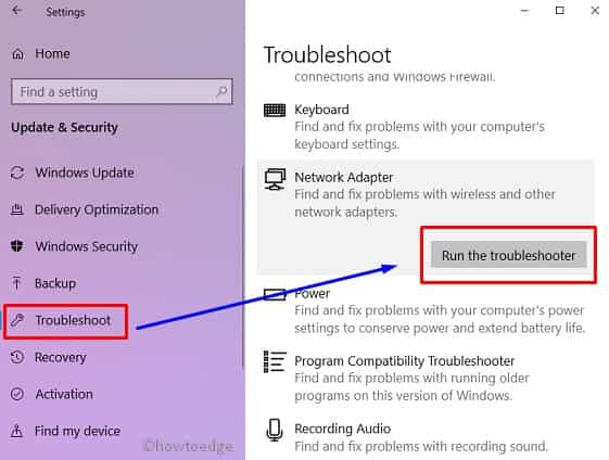 No Wi-Fi issue- troubleshooter