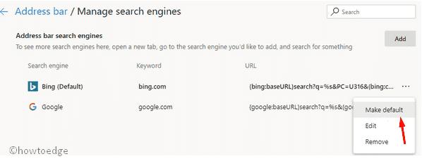 Set Google as default Search engine