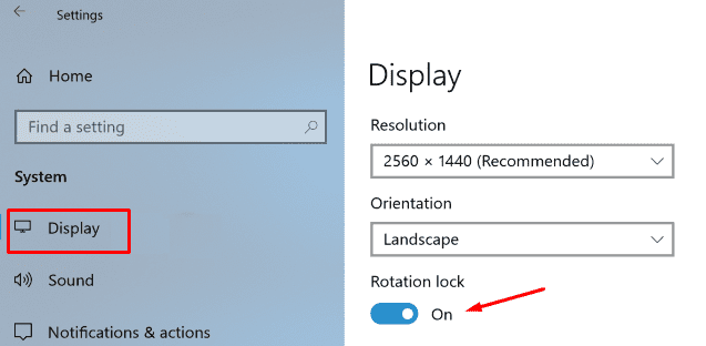 disable Automatic Screen Rotation
