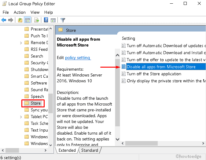 Disable Microsoft Store apps