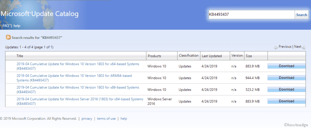 KB4493437 Patch Update- takes Windows 10 1803 to Build