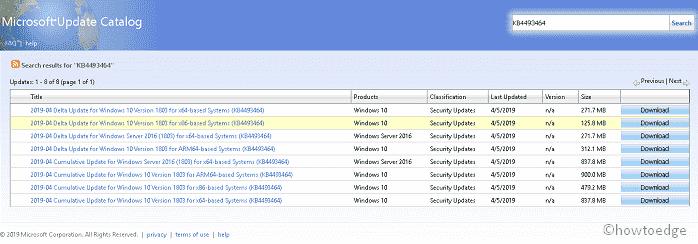 KB4493464 cumulative update takes Windows 10 1803 to Build