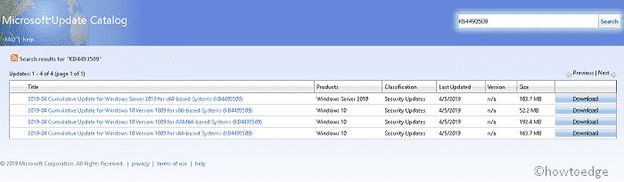 KB4493509-Updates Windows 10 1809 to Build 17763 437 - Howtoedge