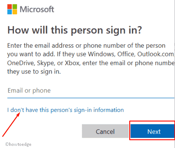 Microsoft new user account