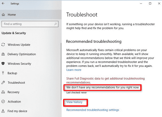 troubleshooter automatically in 19H1