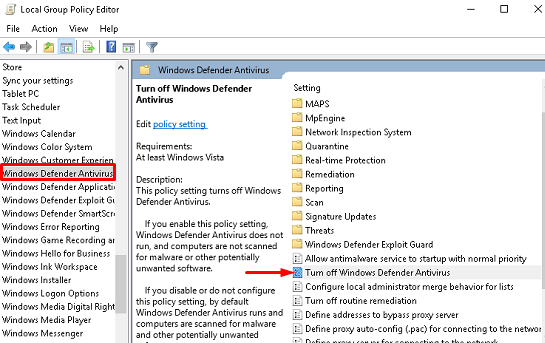 Disable or Enable Windows Defender