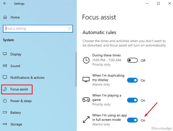 Windows 10 19H1 - Focus Assist