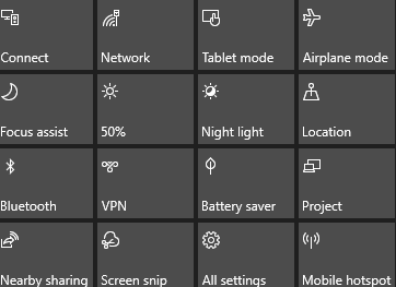 How to edit quick action toggle in Windows 10 version 1903 - Howtoedge
