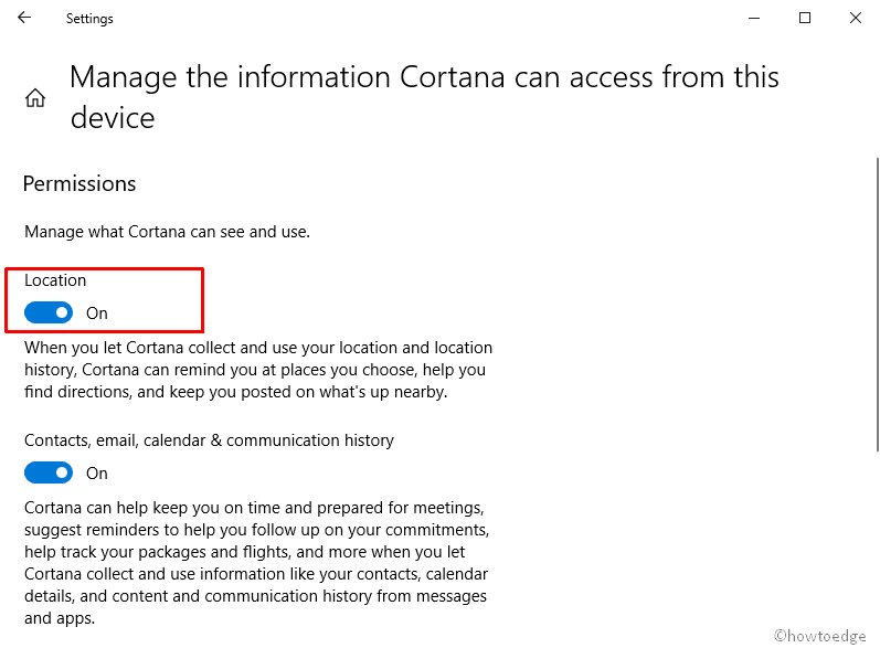 prevent Cortana accessing location