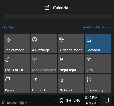 New Action Center on Windows 10 1903