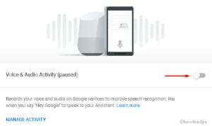 Prevent Google storing voice recordings