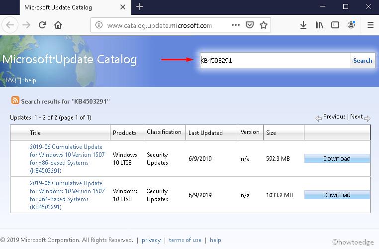KB4503291 Windows 10 Initial version
