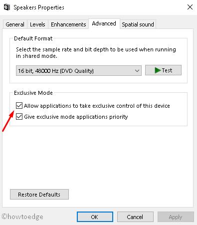Sound Advanced option