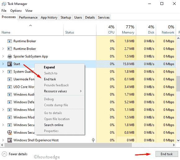 How to restart start menu in Windows 10 19H1 - Howtoedge