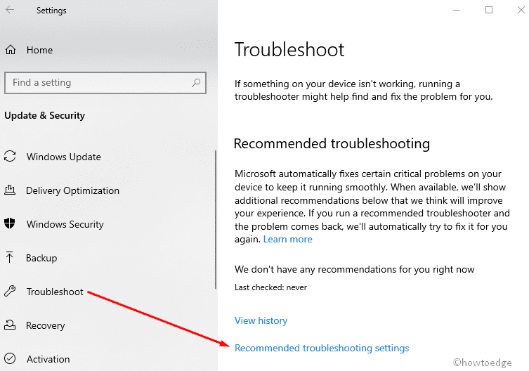 use Recommended Troubleshooting