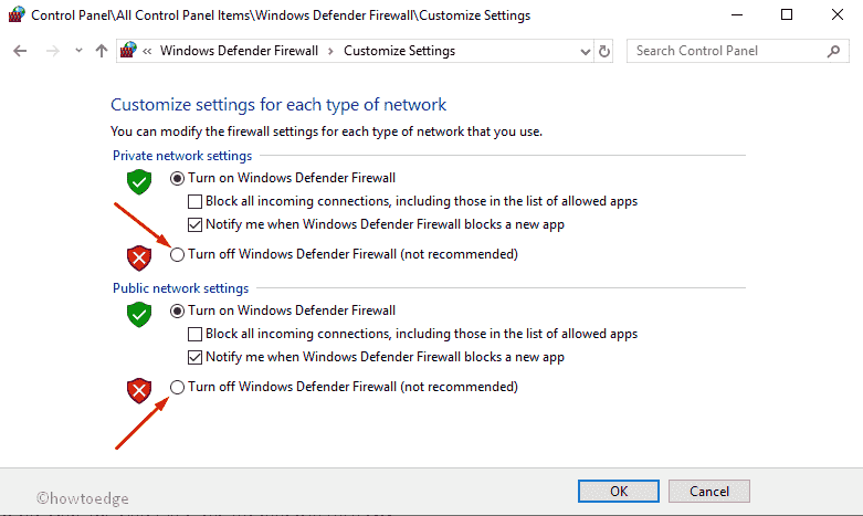 Enable or Disable firewall in windows 10