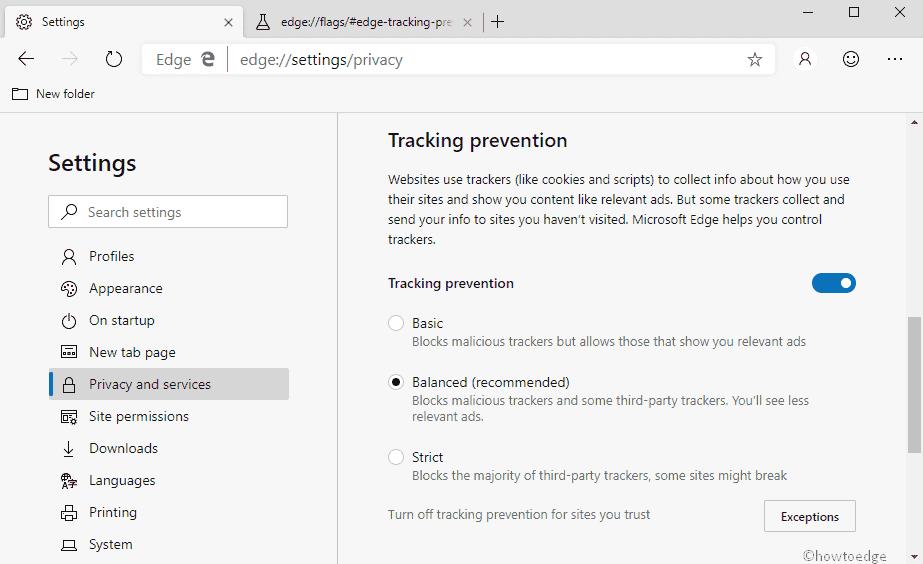 enable tracking prevention settings in Chromium Edge