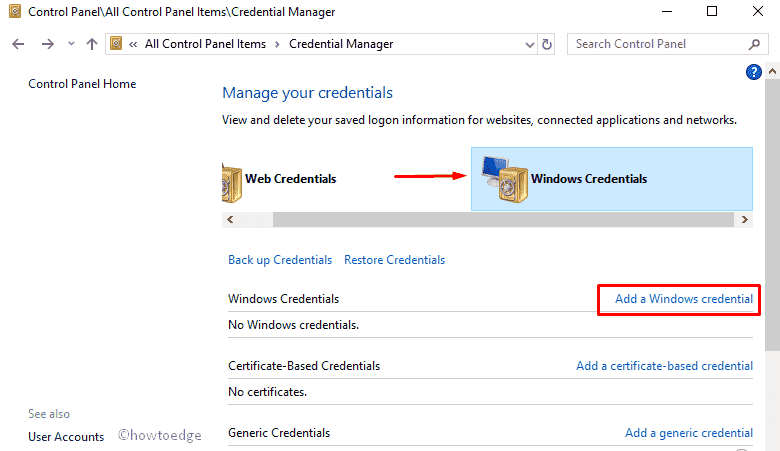 How to setup and use Credential Manager on Windows 10