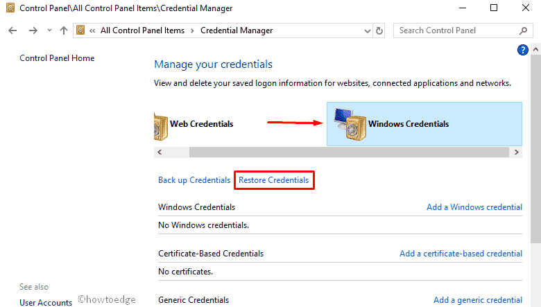 Credential Manager on Windows 10