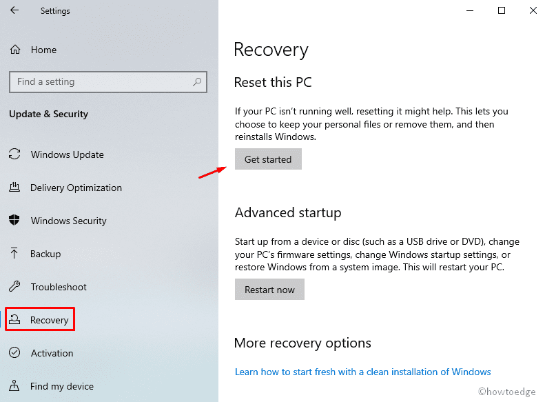 reset this PC using Cloud Download