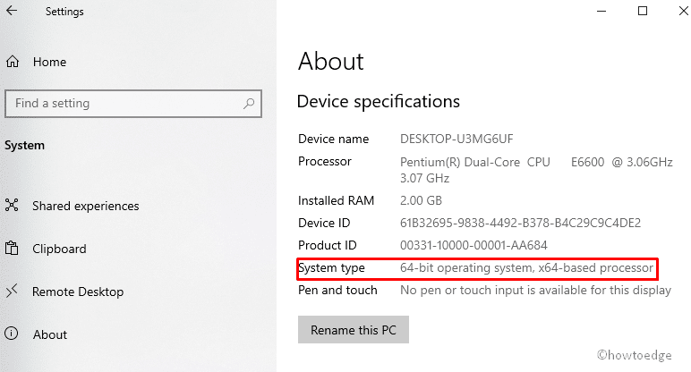 Device Specifications