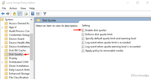 Enable or Disable disk quotas