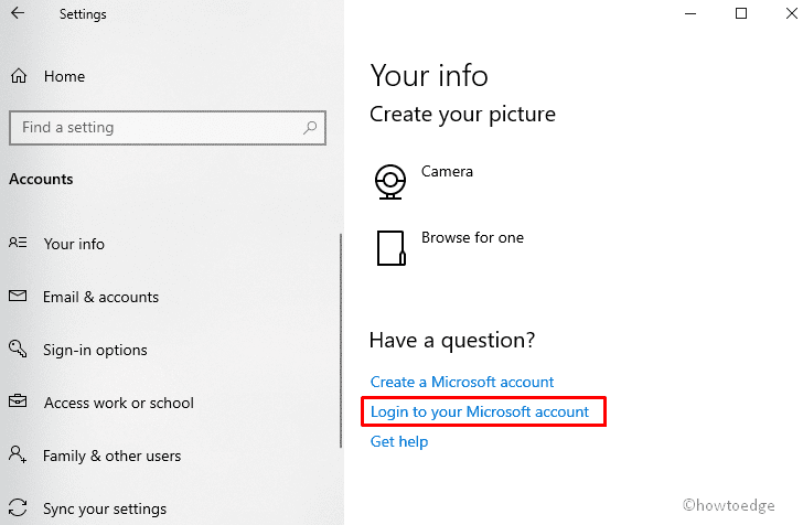 Login with Microsoft account
