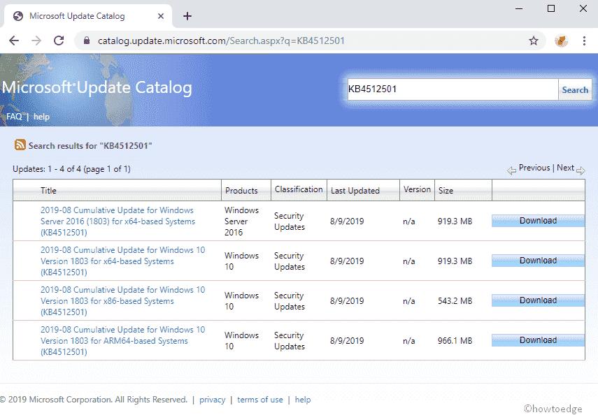 KB4512501 updates Windows 10 1803 to Build 17134 950- 13 Aug