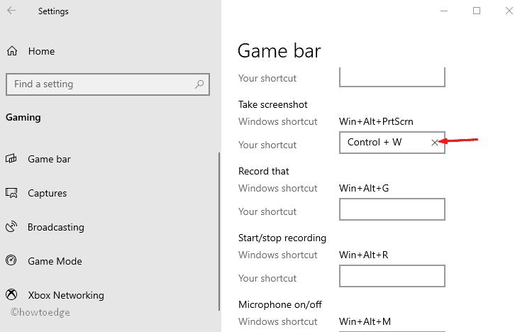 Screen recording shortcuts