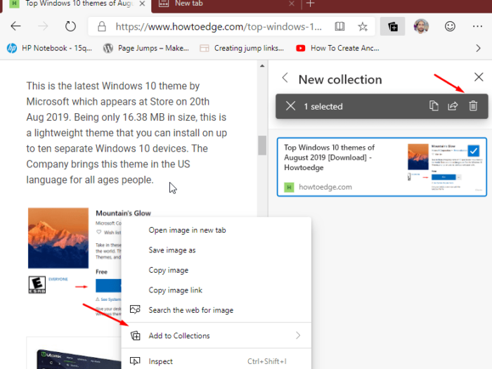 Collections feature on Chromium Edge