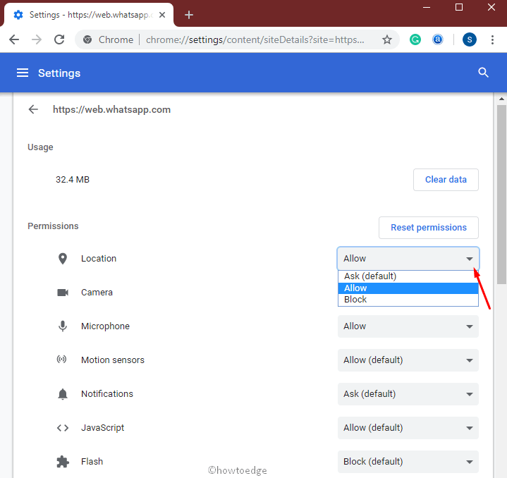 block website from tracking location on Chrome