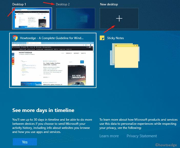 switch in between the Virtual Desktops