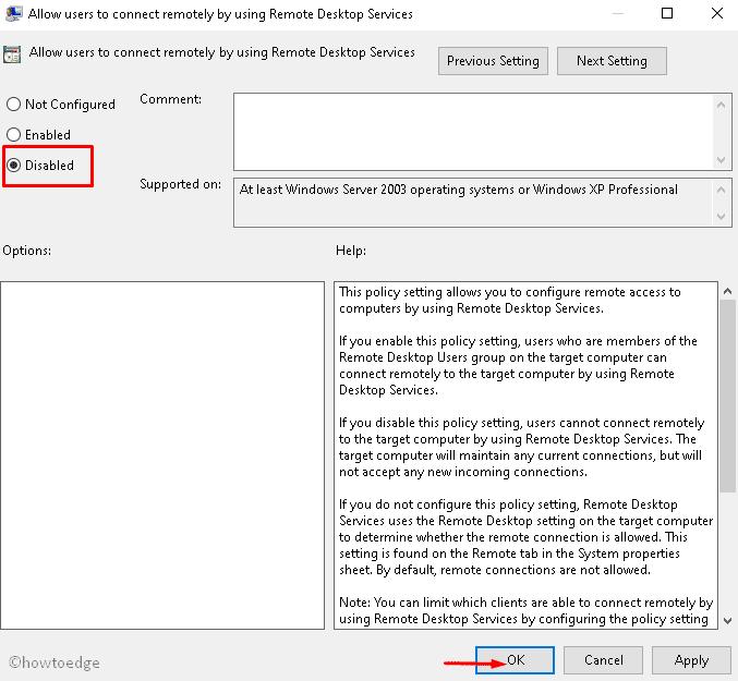 Disable Remote Desktop Connection