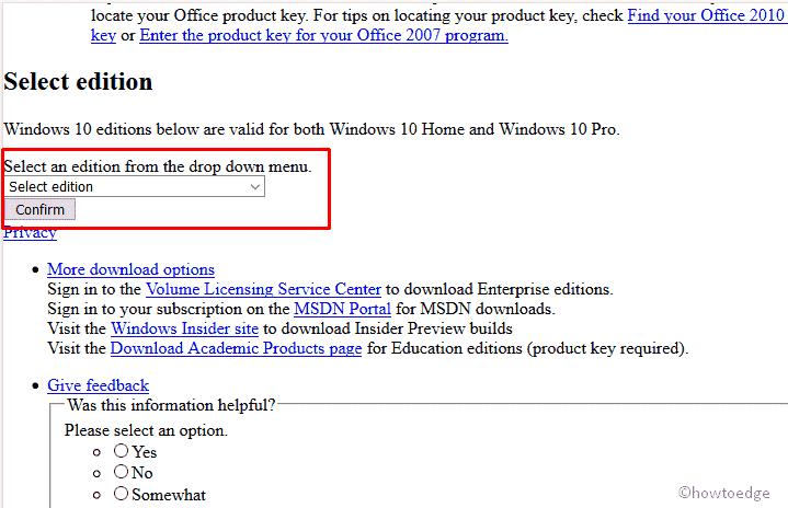 Select Windows version on Mozila