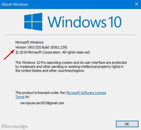 Check Windows 10 version