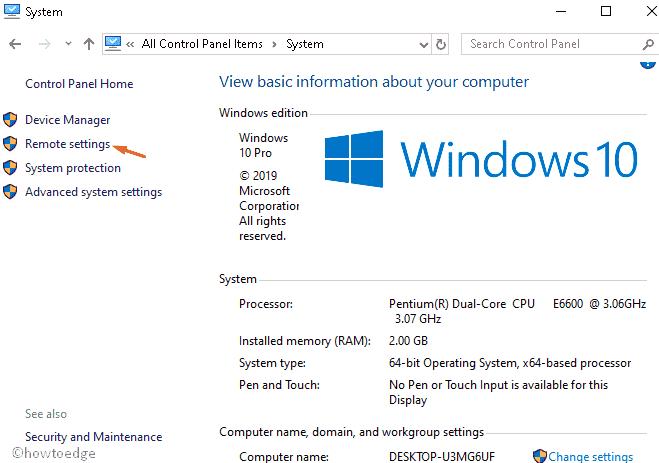 Remote Desktop in Windows 10