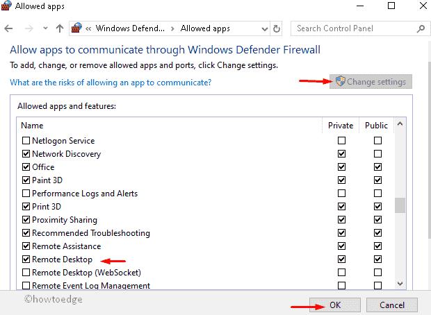 Allowed apps under Windows Defender