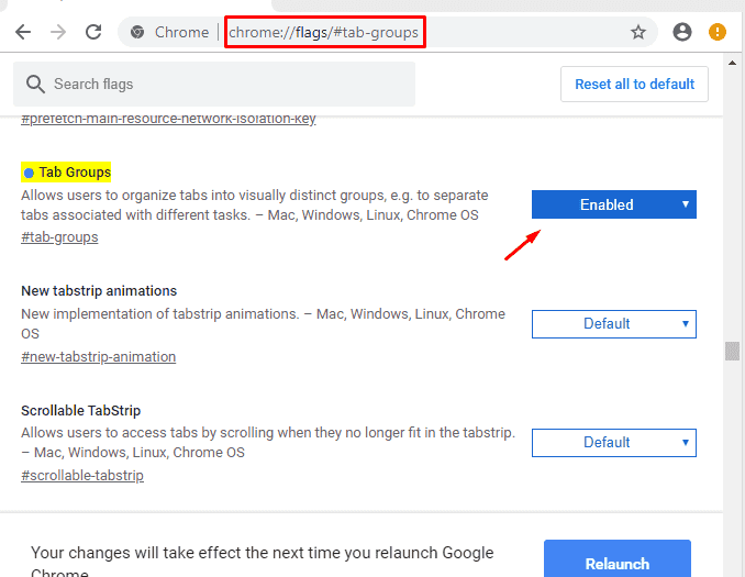 create tab groups in Chrome Canary