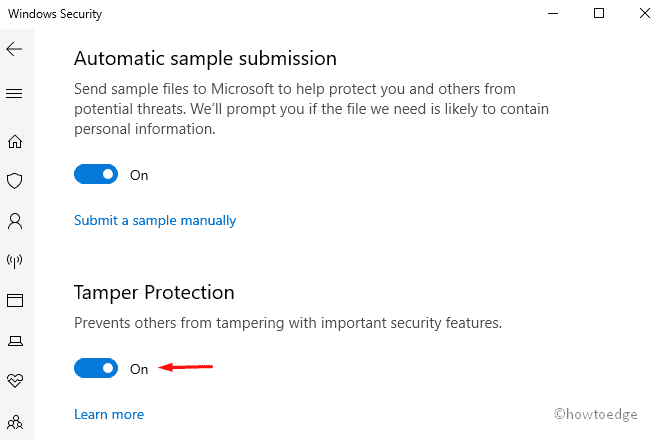 Enable or Disable Tamper Protection
