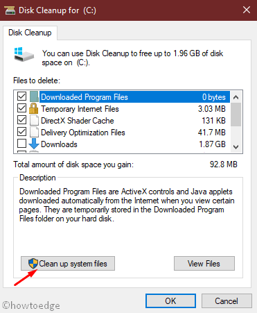 Delete junk files from Disk Storage using Disk Cleanup Tool