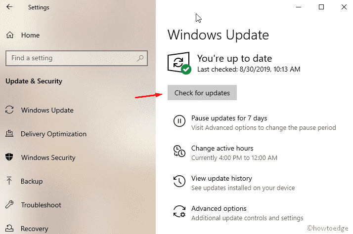 Install recent patches via Windows Update Settings
