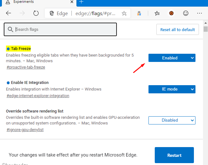 enable Tab freeze on Chromium Edge