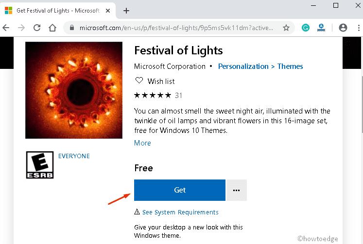 Festival of Lights Windows 10 theme