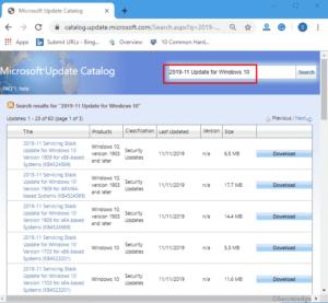 Windows 10 November 2019 Servicing Stack Updates