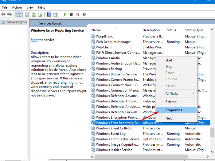 enable or disable Error Reporting Service